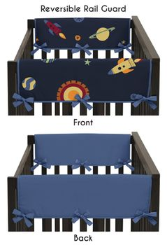 Space Galaxy Baby Crib Side Rail Guard Covers by Sweet Jojo Designs - Set of 2