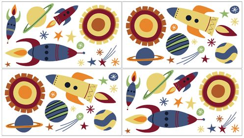 Space Galaxy Peel and Stick Wall Decal Stickers Art Nursery Decor by Sweet Jojo Designs - Set of 4 Sheets - Click to enlarge