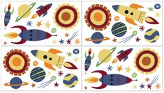 Space Galaxy Peel and Stick Wall Decal Stickers Art Nursery Decor by Sweet Jojo Designs - Set of 4 Sheets