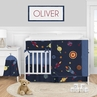 Space Galaxy Planets Baby Boy Nursery Crib Bedding Set by Sweet Jojo Designs - 5 pieces - Blue Red Green and Yellow Rocket Ship Stars and Moon