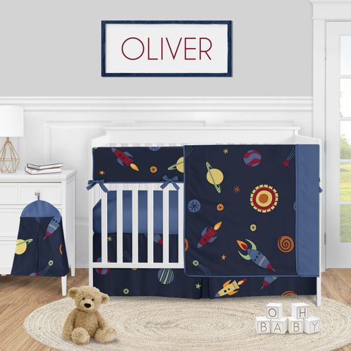 Space Galaxy Planets Baby Boy Nursery Crib Bedding Set by Sweet Jojo Designs - 5 pieces - Blue Red Green and Yellow Rocket Ship Stars and Moon - Click to enlarge