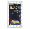 Space Galaxy Planets Boy Fitted Crib Sheet Baby or Toddler Bed Nursery Photo Op by Sweet Jojo Designs - Navy Blue Star and Moon Rocket Ship
