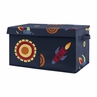 Space Galaxy Planets Boy Small Fabric Toy Bin Storage Box Chest For Baby Nursery or Kids Room by Sweet Jojo Designs - Navy Blue Star and Moon Rocket Ship