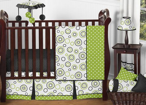 Spirodot Lime and Black Baby Bedding - 11pc Crib Set by Sweet Jojo Designs - Click to enlarge