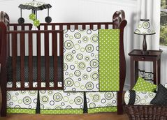 Spirodot Lime and Black Baby Bedding - 11pc Crib Set by Sweet Jojo Designs