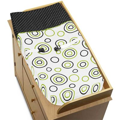 Spirodot Lime and Black Baby Changing Pad Cover by Sweet Jojo Designs - Click to enlarge