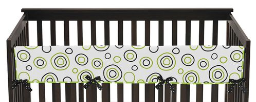 Spirodot Lime and Black Baby Crib Long Rail Guard Cover by Sweet Jojo Designs - Click to enlarge