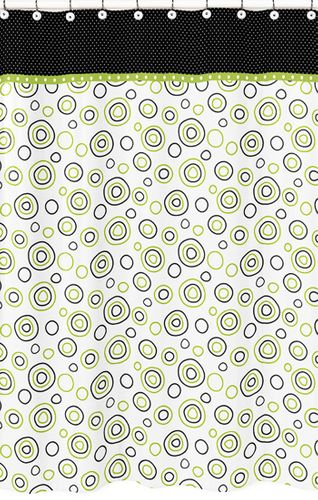 Spirodot Lime and Black Kids Bathroom Fabric Bath Shower Curtain by Sweet Jojo Designs - Click to enlarge