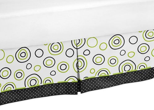 Spirodot Lime and Black Queen Bed Skirt for Childrens Teens Bedding Sets by Sweet Jojo Designs - Click to enlarge