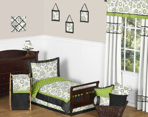 Spirodot Lime and Black Toddler Bedding - 5pc Set by Sweet Jojo Designs - Click to enlarge