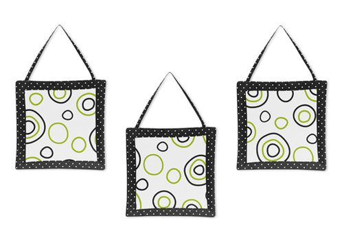 Spirodot Lime and Black Wall Hanging Accessories by Sweet Jojo Designs - Click to enlarge