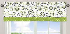 Spirodot Lime and Black Window Valance by Sweet Jojo Designs