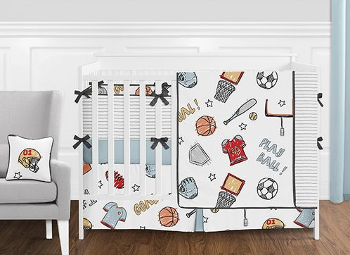 Sports Star Baby Boy Nursery Crib Bedding Set with Bumper by Sweet Jojo Designs - 9 pieces - Blue and Grey Baseball, Football, Basketball, Soccer Themed - Click to enlarge