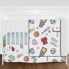 Sports Star Baby Boy Nursery Crib Bedding Set without Bumper by Sweet Jojo Designs - 4 pieces - Blue and Grey Baseball, Football, Basketball, Soccer Themed