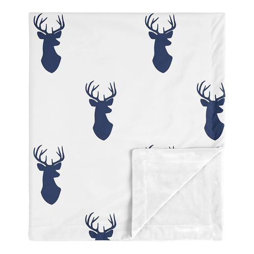 Stag Woodland Deer Baby Boy Receiving Security Swaddle Blanket for Newborn or Toddler Nursery Car Seat Stroller Soft Minky by Sweet Jojo Designs - Navy Blue and White - Click to enlarge