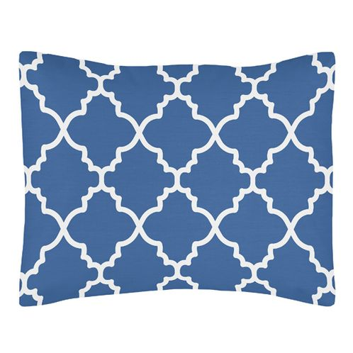 Standard Pillow Sham for Blue and White Trellis Bedding by Sweet Jojo Designs - Click to enlarge