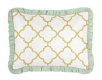 Standard Pillow Sham for Gold, Mint, Coral and White Ava Bedding Sets