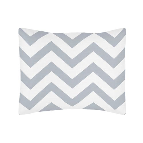 Standard Pillow Sham for Gray and White Chevron Zig Zag Bedding by Sweet Jojo Designs - Click to enlarge