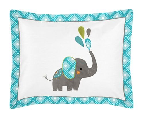 Standard Pillow Sham for Mod Elephant Bedding by Sweet Jojo Designs - Click to enlarge
