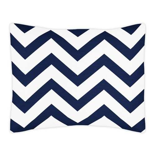 Standard Pillow Sham for Navy and White Chevron Zig Zag Bedding by Sweet Jojo Designs - Click to enlarge