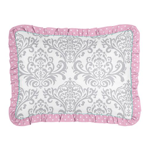 Standard Pillow Sham for Pink, Gray and Turquoise Skylar Bedding by Sweet Jojo Designs - Click to enlarge