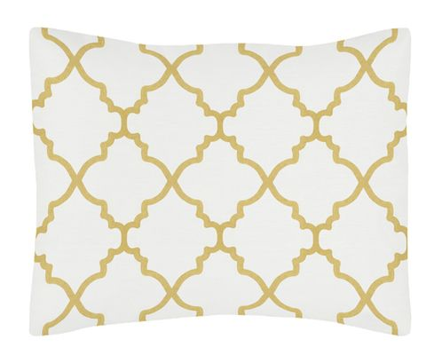 Standard Pillow Sham for White and Gold Trellis Bedding Collection - Click to enlarge