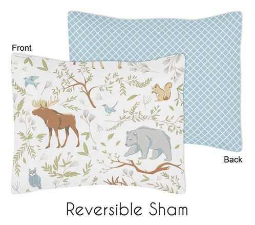 Standard Pillow Sham for Woodland Animal Toile Bedding by Sweet Jojo Designs - Click to enlarge