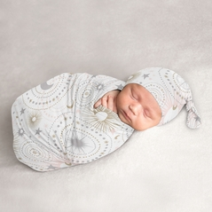 Star and Moon Baby Girl Cocoon and Beanie Hat 2pc Set Jersey Stretch Knit Sleeping Bag for Infant Newborn Nursery Sleep Wrap Sack by Sweet Jojo Designs - Blush Pink, Gold, and Grey Celestial
