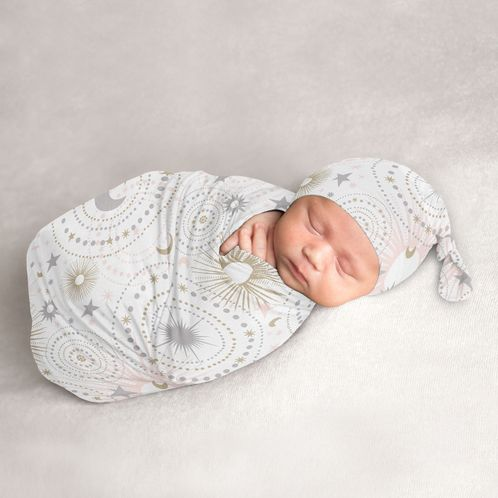 Star and Moon Baby Girl Cocoon and Beanie Hat 2pc Set Jersey Stretch Knit Sleeping Bag for Infant Newborn Nursery Sleep Wrap Sack by Sweet Jojo Designs - Blush Pink, Gold, and Grey Celestial - Click to enlarge