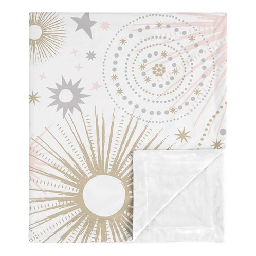 Star and Moon Celestial Baby Girl Receiving Security Swaddle Blanket for Newborn or Toddler Nursery Car Seat Stroller Soft Minky by Sweet Jojo Designs - Blush Pink, Gold, and Grey - Click to enlarge