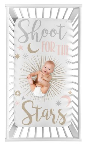 Star and Moon Girl Fitted Crib Sheet Baby or Toddler Bed Nursery Photo Op by Sweet Jojo Designs - Blush Pink, Gold, Grey and White Shoot for the Stars Celestial - Click to enlarge