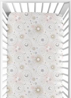 Star and Moon Girl Jersey Stretch Knit Baby Fitted Crib Sheet for Soft Toddler Bed Nursery by Sweet Jojo Designs - Blush Pink, Gold, and Grey Celestial