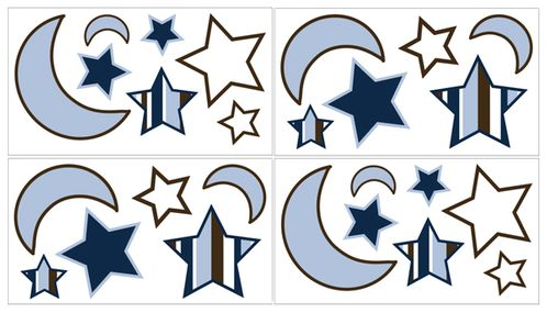 Starry Night Baby and Kids Stars and Moons Wall Decal Stickers - Set of 4 Sheets - Click to enlarge