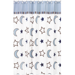 Starry Night Stars and Moons Kids Bathroom Fabric Bath Shower Curtain