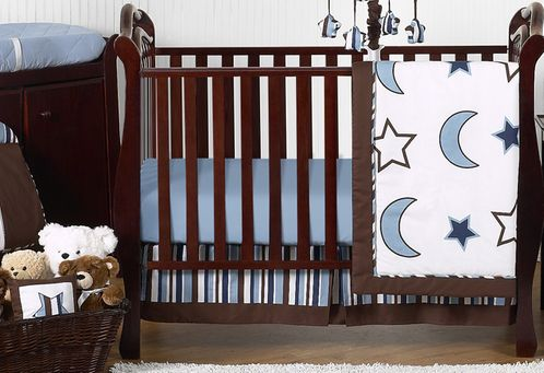 Stars and Moons Baby Bedding - 11pc Crib Set by Sweet Jojo Designs - Click to enlarge