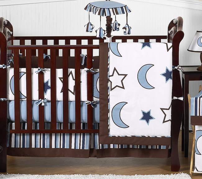 Pink//Blue Cot Quilt and Bumper Set Starry Nights