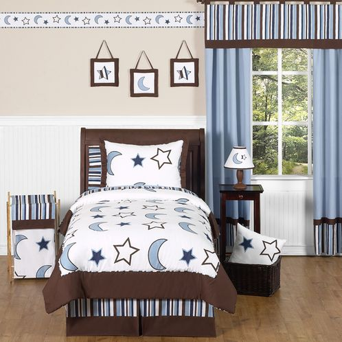 Stars and Moons Toddler Bedding - 5pc Boy Bedding Set by Sweet Jojo Designs - Click to enlarge