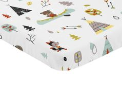 Stone and Aqua Woodland Animals Baby Fitted Mini Portable Crib Sheet for Outdoor Adventure Collection by Sweet Jojo Designs