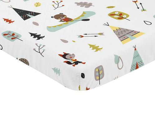 Stone and Aqua Woodland Animals Baby Fitted Mini Portable Crib Sheet for Outdoor Adventure Collection by Sweet Jojo Designs - Click to enlarge