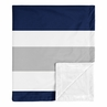 Stripe Baby Boy Receiving Security Swaddle Blanket for Newborn or Toddler Nursery Car Seat Stroller Soft Minky by Sweet Jojo Designs - Navy Blue, Grey and White
