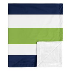 Stripe Baby Boy Receiving Security Swaddle Blanket for Newborn or Toddler Nursery Car Seat Stroller Soft Minky by Sweet Jojo Designs - Navy Blue, Lime Green and White