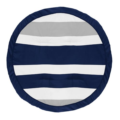 Stripe Boy Baby Playmat Tummy Time Infant Play Mat by Sweet Jojo Designs - Navy Blue, Grey and White - Click to enlarge