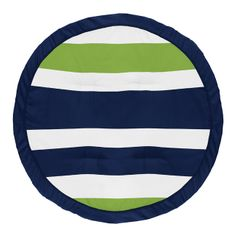 Stripe Boy Baby Playmat Tummy Time Infant Play Mat by Sweet Jojo Designs - Navy Blue, Lime Green and White