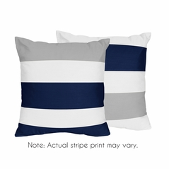 Stripe Decorative Accent Throw Pillow Case Covers by Sweet Jojo Designs - Set of 2 (Inserts Not Included) - Navy Blue, Grey and White