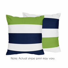 Stripe Decorative Accent Throw Pillow Case Covers by Sweet Jojo Designs - Set of 2 (Inserts Not Included) - Navy Blue, Lime Green and White