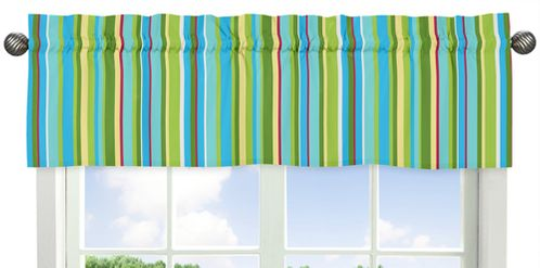 Stripe Print Window Valance for Turquoise and Lime Layla Collection - Click to enlarge