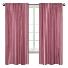 Stripe Window Treatment Panels for Vintage Aviator Collection by Sweet Jojo Designs - Set of 2