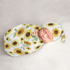 Sunflower Baby Girl Cocoon and Beanie Hat 2pc Set Jersey Stretch Knit Sleeping Bag for Infant Newborn Nursery Sleep Wrap Sack by Sweet Jojo Designs - Yellow and Green Farmhouse Floral Watercolor Flower