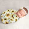 Sunflower Baby Girl Swaddle Blanket Jersey Stretch Knit for Newborn or Infant Receiving Security by Sweet Jojo Designs - Yellow and Green Farmhouse Floral Watercolor Flower