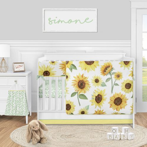 Sunflower Boho Floral Baby Girl Nursery Crib Bedding Set by Sweet Jojo Designs - 5 pieces - Yellow Green and White Farmhouse Watercolor Flower - Click to enlarge